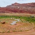 Ledge A, deserted in summer.- Kane Creek Camping