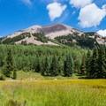 Mount Peale's south side, seen from Beaver Lake along the Burlfriends Trail.- Burlfriends Trail Hike