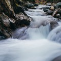 The uppermost cascade is one of the smallest.- Honey Hollow Falls