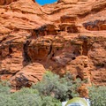 Tent camping beneath the redrock.- Snow Canyon State Park