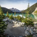 A typical tent site at Upper Joffre Lake.- Joffre Lakes Hike