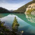 Looking back across Upper Joffre Lake.- Joffre Lakes Hike