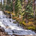 The waterfall just below Upper Joffre Lake.- Joffre Lakes Hike