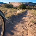 The trail is narrow and quick.- Kokopelli Loops Mountain Bike Trails: Rustler's Loop
