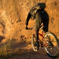 The sand and rock glows red at sunset.- Kokopelli Loops Mountain Bike Trails: Rustler's Loop
