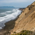 Looking north from the further reach of the upper trail. Marin Headlands in the distance.- Mussel Rock Area