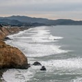 Looking south toward the Pacifica Pier and Mori Point.- Mussel Rock Area