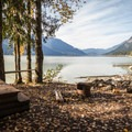A campsite at Twin One Campground.- Lillooet Lake Campgrounds
