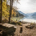 A campsite at Driftwood Bay.- Lillooet Lake Campgrounds