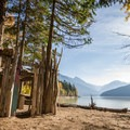 Makeshift driftwood shelter at Strawberry Point.- Lillooet Lake Campgrounds