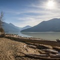 Relaxing at Strawberry Point.- Lillooet Lake Campgrounds