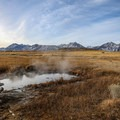 The source of Shephard Hot Spring is a spring that is too hot to soak in located 20 feet from the cement soaking tub.- Shepherd Hot Spring