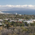 View of Santa Monica, Santa Monica Bay, and the Palos Verdes Hills from the Temescal Ridge Trail.- Temescal Ridge Trail Hike