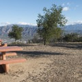 Picnic tables at Dante's View.- Mount Hollywood Hike via Charlie Turner Trail
