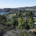 View of Hollywood Lake, a reservoir, from Hollywood Lake Park, a part of Griffith Park.- Griffith Park