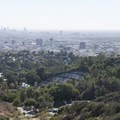 View of downtown Hollywood, Los Angeles, and the Hollywood Bowl from the Jerome Daniel Overlook.- Mulholland Drive, Jerome Daniel Overlook