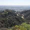 View of Runyon Canyon Park and the Los Angeles Metro Area from Indian Rock.- Runyon Canyon Road Hike
