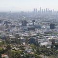 View of downtown Hollywood and Los Angeles from Cloud's Rest Overlook, Runyon Canyon Park.- Runyon Canyon Road Hike
