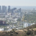 View west of Century City and Santa Monica from Cloud's Rest Overlook, Runyon Canyon Park.- Runyon Canyon Road Hike