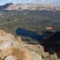 Mirror Lake and the valley far below.  - Bald Mountain via Bald Mountain Pass