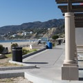 Concession pavilion and picnic area at Will Rogers State Beach.- Will Rogers State Beach