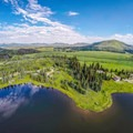 Bird's-eye view of the campground.- Pearl Lake