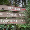 Old sign at the entrance to the parking area.- Cat Lake Campground