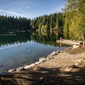 The beach on the east side of the lake.- Cat Lake Campground