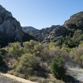 Goat Buttes and Century Lake, a reservoir, within Malibu Creek State Park.- Malibu Creek State Park
