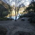 Picnic area on the east end of Century Lake, a reservoir that is accessed via a short spur trail.- M*A*S*H TV Set Hike