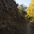 After a creek crossing, Crags Road turns into a singletrack trail.- M*A*S*H TV Set Hike