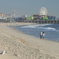 View of the Santa Monica Pier from Santa Monica State Beach.- Santa Monica State Beach