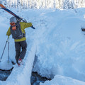 The slightly sketchy one-log crossing across Clark Creek.- Newton Clark Moraine (Ridge Between) Backcountry Ski
