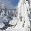 The trail follows Clark Creek for about a half-mile.- Newton Clark Moraine (Ridge Between) Backcountry Ski