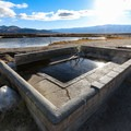 The concrete pool at Fish Lake Valley Hot Well is about 105 degrees and large enough for 6 to 10 people.- Fish Lake Valley Hot Well