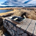 A sink with water pumped from the pond at Fish Lake Valley Hot Well.- Fish Lake Valley Hot Well