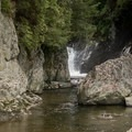 The area below the falls makes a good swimming hole.- Big Falls State Park