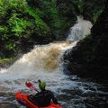 Looking back up at One Whistle Falls.- Brokeback Gorge Kayaking