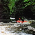Brokeback Gorge often makes zigzagging low-angle slides. This is the last rapid before paddlers are truly committed to the biggest drop on the run.- Brokeback Gorge Kayaking