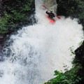 One Whistle Falls is less than a paddle-length wide at the lip and drops 45 feet.- Brokeback Gorge Kayaking