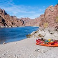 This is the beach at Ringbolt Rapid, where you access the hot springs from the river.- Arizona Hot Springs