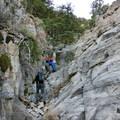 Scrambling in the canyon.- Notch Peak Hike