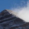 Summit ridge, hiker descending.- Mount Timpanogos via Aspen Grove