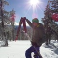 Making the transition to downhill.- Vista Butte Backcountry Ski