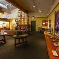 Interpretive exhibits inside the visitor center.- Lava Beds National Monument