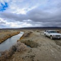 It's possible to park immediately beside the pond at Trego Hot Springs.- Trego Hot Springs