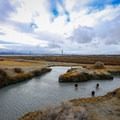 The springs sit at the edge of the Black Rock Desert.- Trego Hot Springs