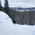 Descending on the Gore Range Trail.- Buffalo Mountain Loop Snowshoe