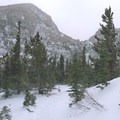 View of the trail approaching Lock Vale.- The Loch Vale Snowshoe