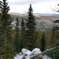 Backside view from switchbacks.- The Loch Vale Snowshoe